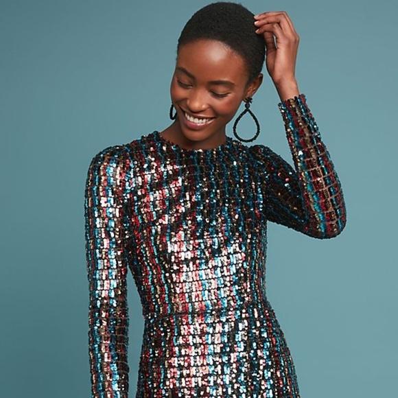 Anthropologie Dresses & Skirts - ML Monique Lhuillier Striped Sequin Dress - SZ 4